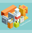 isometric of icons for fitness and diet vector image vector image