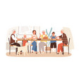 joyful american family celebrating holiday sitting vector image