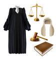 judge formal dress and gavel realistic vector image vector image