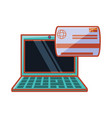 laptop with credit card vector image vector image