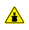 Magic trick warning sign yellow hazard attention