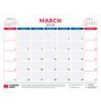 march 2018 calendar planner design template week vector image vector image