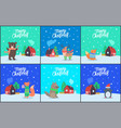 merry christmas bear fox with present set vector image vector image