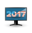 Monitor with new year 2017 sign vector image