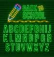 neon latin alphabet vector image