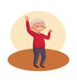 old man eldery dancing character vector image vector image