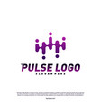 pulse logo design concept people beat logo vector image vector image