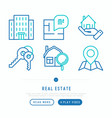 real estate thin line icons set vector image vector image