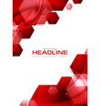 red glossy tech hexagons background vector image vector image