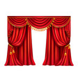 red silk curtain with lambrequin realistic vector image vector image