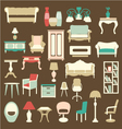 Retro style Furniture Icons Silhouettes vector image vector image