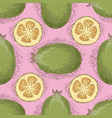 seamless pattern with ripe whole feijoa vector image vector image