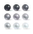 Set of realistic greyscale spheres vector image