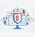 shield over computer monitor and dollar set of vector image vector image