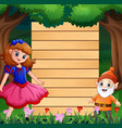 snow white with dwarf and wood blank sign vector image vector image