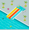 the water park is isometric vector image vector image