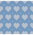 Tile knitting pattern with white hearts on blue vector image