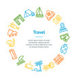 Travel and tourism thin line banner card circle