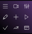 user icons line style set with equalizer schedule vector image vector image