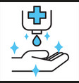 using sanitizer or antiseptic for cleaning hands vector image