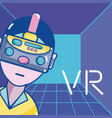 virtual reality technology cartoons vector image