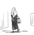 walking muslim woman back view hand drawn sketch vector image