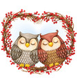 watercolor lovely owls sleeping on a heart wreath vector image