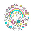 with unicorn rainbow clouds vector image vector image