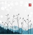 young tree branches and blue mountains in fog on vector image vector image