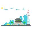 flat design seoul landmarks set background vector image