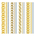 Set of realistic gold and silver chains vector image