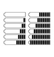 a set of twelve batteries with different charge in vector image vector image