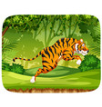 a tiger jumping in forest vector image vector image