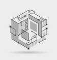 abstract cubic lines elements technical 3d vector image
