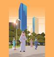 arab people in masks walking outdoor coronavirus vector image