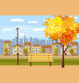 autumn landscape in the park city houses vector image