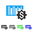 barcode price setup gear flat icon vector image vector image