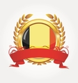 belgium shiny button flag with golden frame vector image