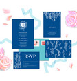 blue wedding stationery vector image