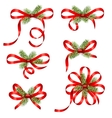 Bow Ribbons with Fir Branches Isolated vector image