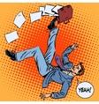 Businessman scores portfolio business success vector image vector image