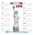 Calendar 2016 yearNew york doodleStatue of vector image