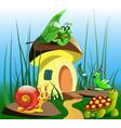 cartoon a children mushroom house vector image vector image