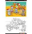 cartoon cats group on christmas time coloring vector image vector image
