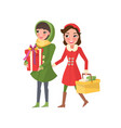 christmas holidays preparation of women shopping vector image vector image
