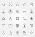 christmas outline icons set new year line vector image