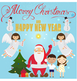 Christmas poster design with Santa Claus Angel chi vector image vector image