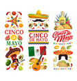 cinco de mayo banners with mexican food and chilli vector image vector image