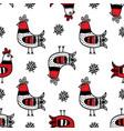cock print folk ornament seamless pattern i vector image