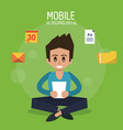 color poster of mobile technology with man sitting vector image vector image